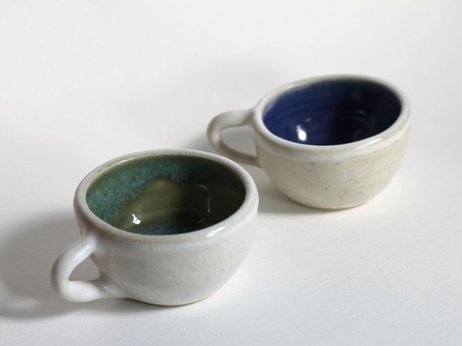 tea cups green and blue