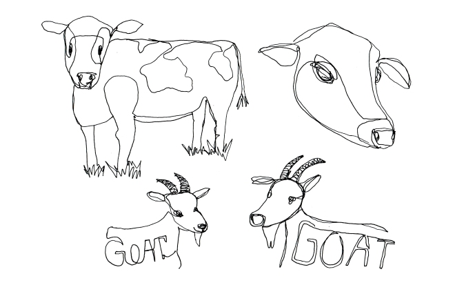 continuous line cows and goats