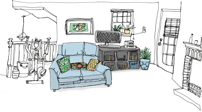 continuous line living room2 with color